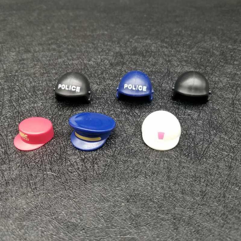 2 قطعة/الحزمة بلايموبيل قبعات خوذة الشعر عشوائي اللون التبعي عمل نموذج لجسم سلاح لبناء كتلة هدية للأطفال X080