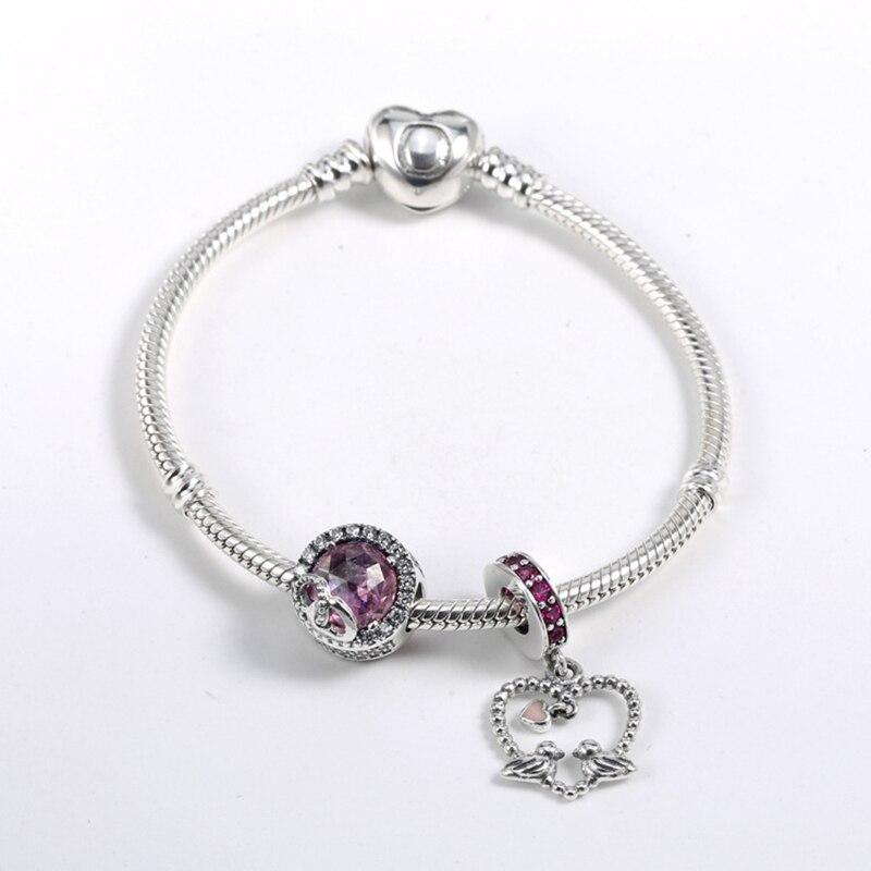 Original 925 en argent Sterling basique costume Bracelet saint valentin cadeaux gardien de l'amour costume bijoux de mode