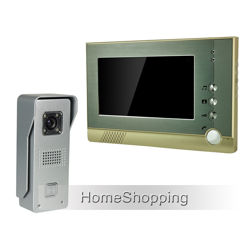 FREE SHIPPING Wired 7 inch TFT Screen Video Door phone Intercom System With 1 Metal Wate ...