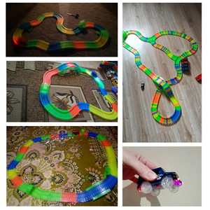 Image 5 - Railway Magical Glowing Flexible Track Car Toys Children Racing Bend Rail Track Led Electronic Flash Light Car DIY Toy Kids Gift