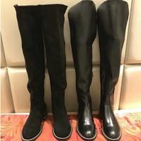 Новинка 2018, женские сапоги выше колена из флока, модная женская обувь на плоской подошве с молнией, зимние женские сапоги, Zapatos de Mujer
