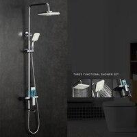 Ванная комната набор для душа латунь хром Настенный смеситель для душа 10 Насадки для душа экономии воды сопло аэратор Керамика стойки набо