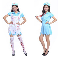 Women Lady Bloody Doctor Nurse Cosplay Costume Stage Performance Costumes Hallowmas Masquerade Party Dress Supplies