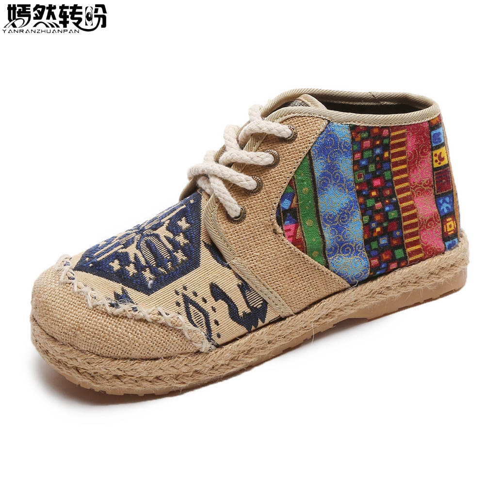 Vintage Embroidered Women Shoes Thai Boho Cotton Linen Canvas Single National Woven Round Toe Lace Up Cloth Shoes Woman Flats chinese women flats shoes vintage boho