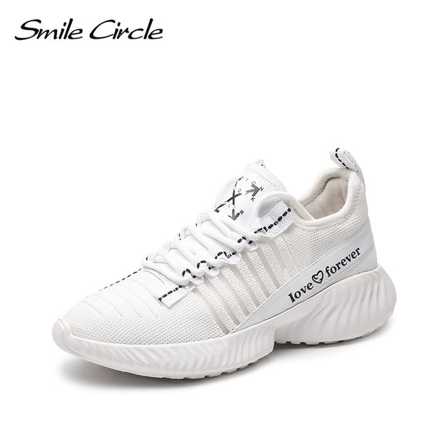 Smile Circle Women Sneakers knitting Shoes Flat Platform shoes Women  Breathable Lightweight Thick bottom Ladies shoes 2019 new 963c5c5f0ca2