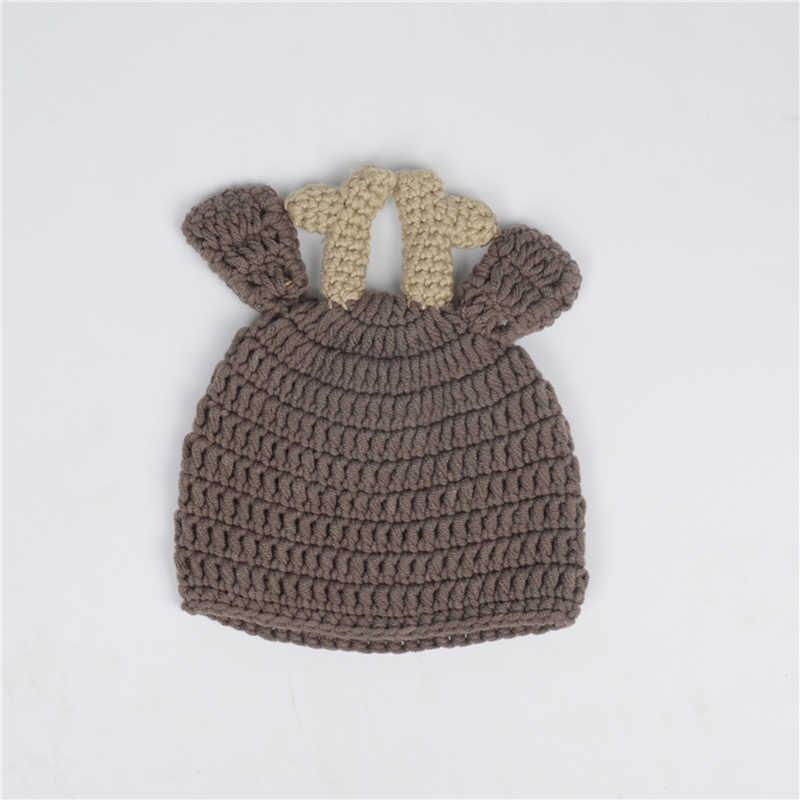Crochê Bebê recém-nascido Malha Fotografia Envoltório Natal Bebe Saco de Dormir + Chapéu de Santa Alce Natal Trajes Foto Adereços Acessórios