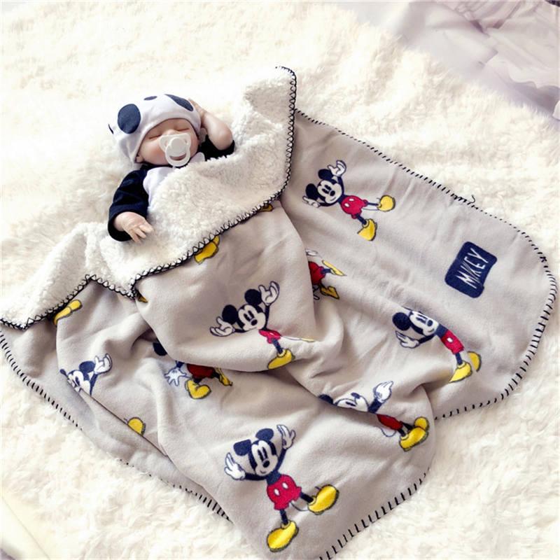2019 New Cartoon Mouse Four Seasons Thicken Super Soft Fleece kids Cloud Blanket Children Boy Girl Throw Blanket Mat Gift 70x100(China)