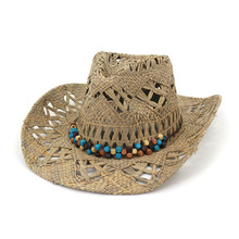 21d1f47e Natural Raffia Straw Cowboy Hat Women Men Handmade Weave Cowboy Hats For  Lady Tassel Summer Western