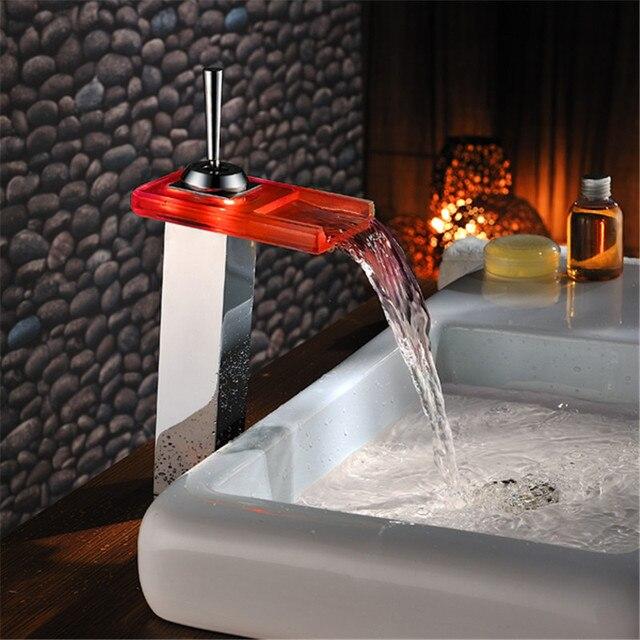 Water Led Badkamer Kraan Kraan Temperatuur Kleur Veranderende LED ...