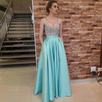 Tiffany Blue High Quality Long Satin Skirts Womens Fashion Floor Length Long Skirt 2017 Chic Invisible