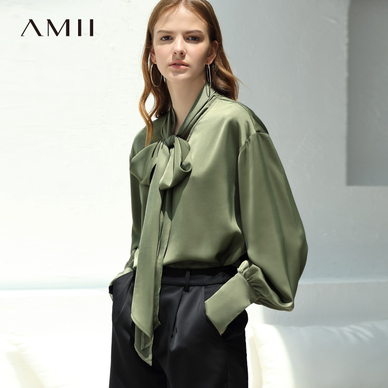 Amii Office Lady Women 2019 Autumn Blouse Chic Bow Tie High Quality Original Design Female Blouses