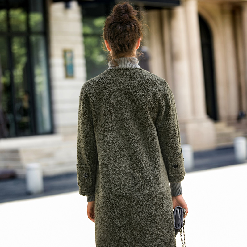 Manteau Green 2019 Fourrure Army Hiver Supérieure Veste Femmes Réel Double Qualité Vêtir face De Laine Femme D'hiver Coréenne Tops 0qxr0YU