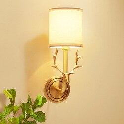 American style pełna miedź deer podmurówka lampy salon dekoracji światła w sypialni ściana oprawa oświetleniowa led wall art