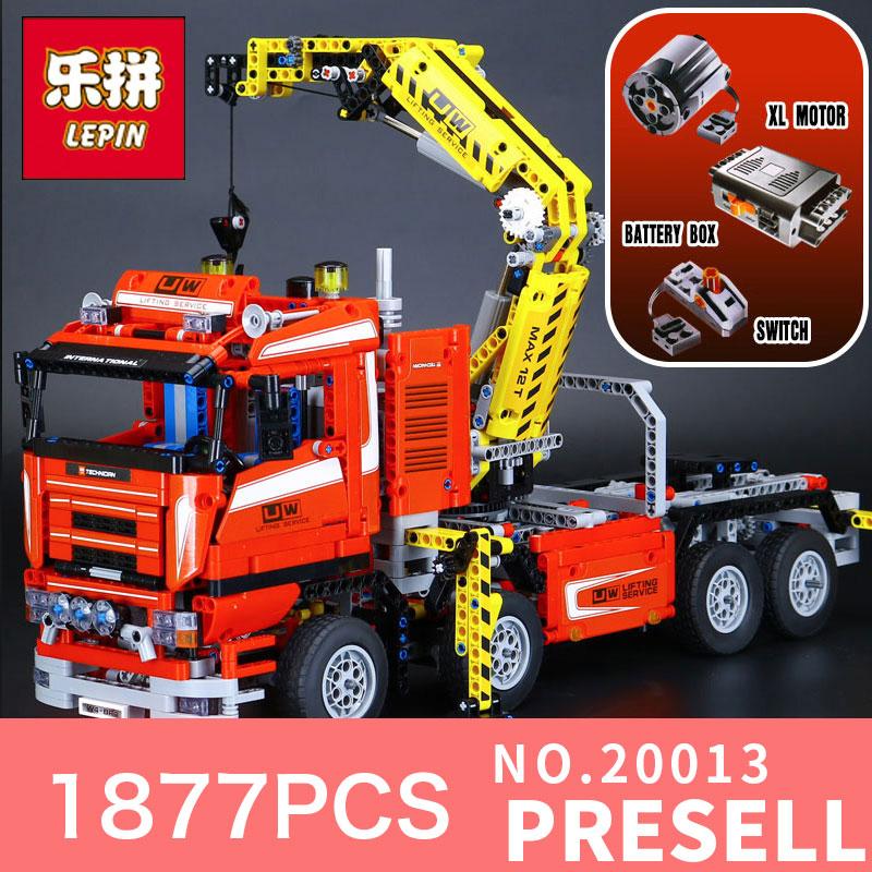 1877Pcs Lepin 20013 Technic Ultimate Mechanical Series The Electric Crane Truck Building Blocks Bricks Toys assemble model 8258
