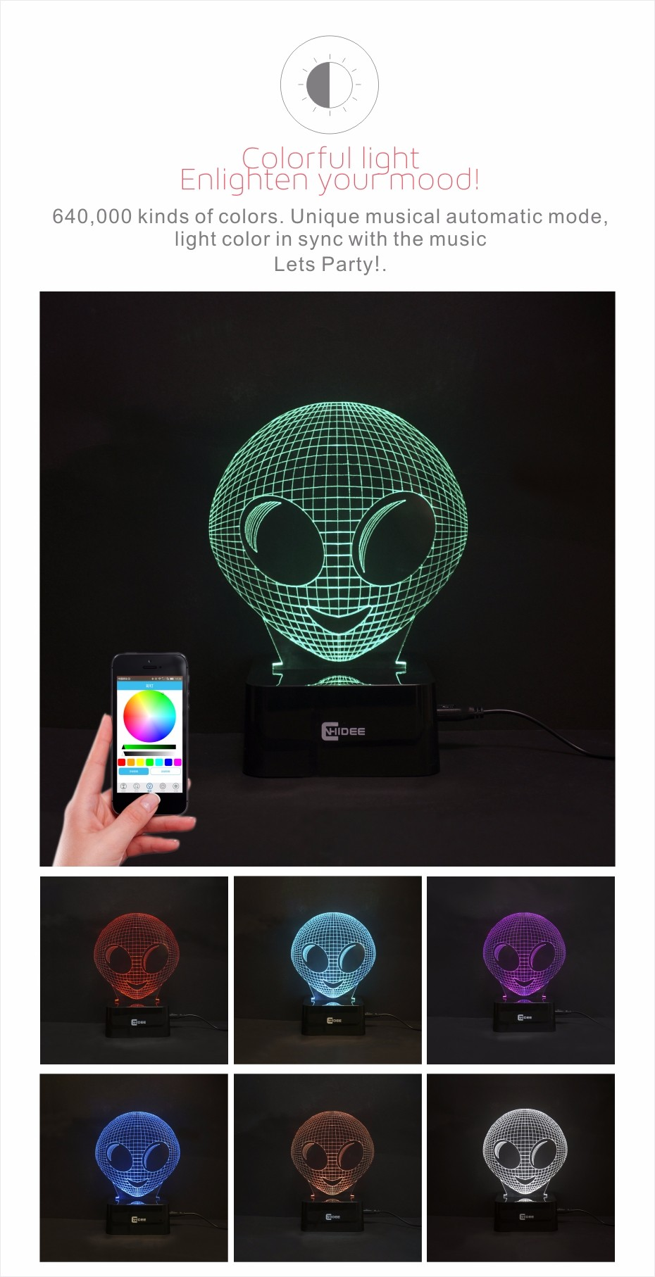 Alien 3d Visual Night Lights Bluetooth Smart Music Lamp Phone App Controlled Home Decor USB Table Desk Nightlights as Xams Gift  (2)