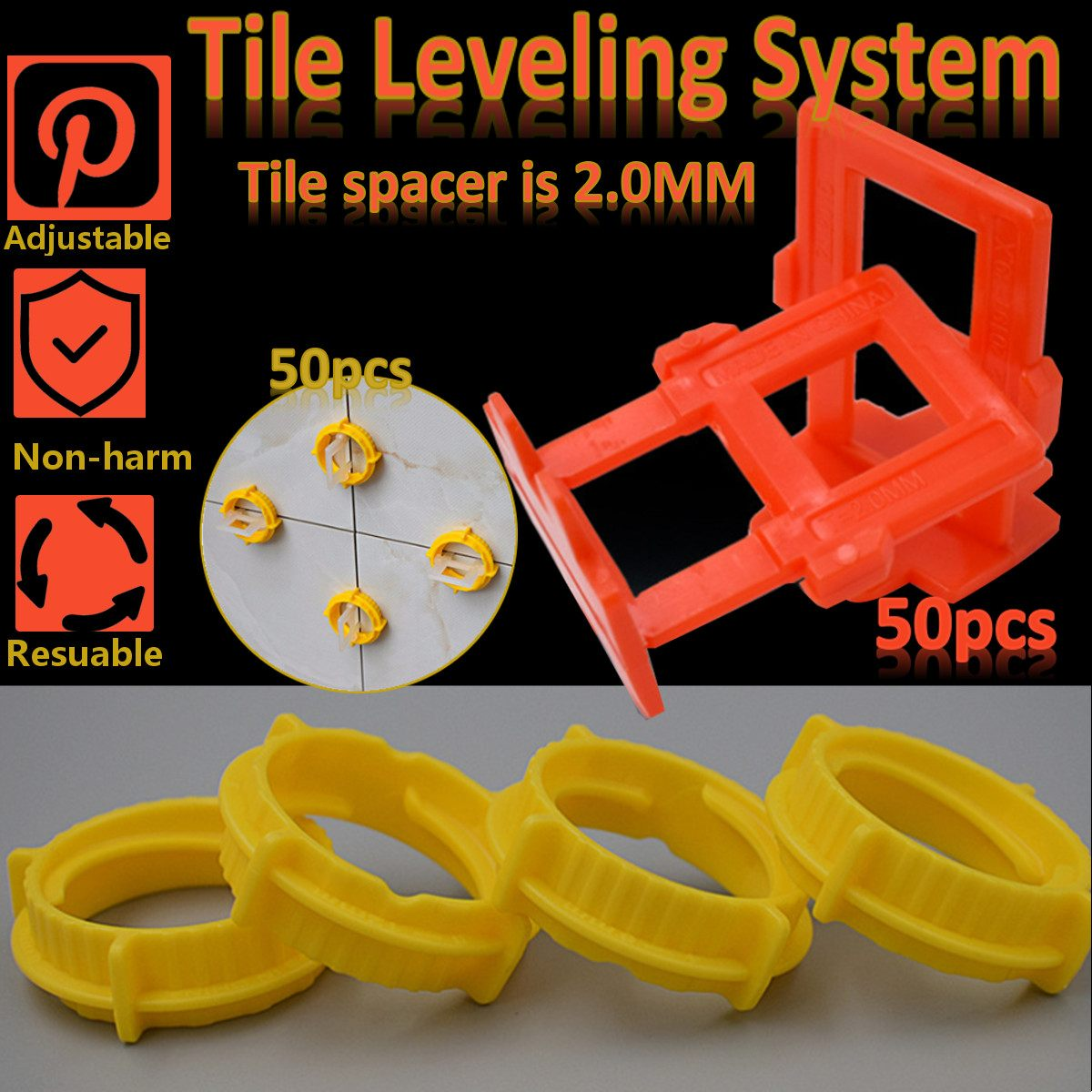 100pcs Plastic Ceramic Tile Leveling System 50 Clips+50 Wedges Tiling Flooring Tools Wedges Clips