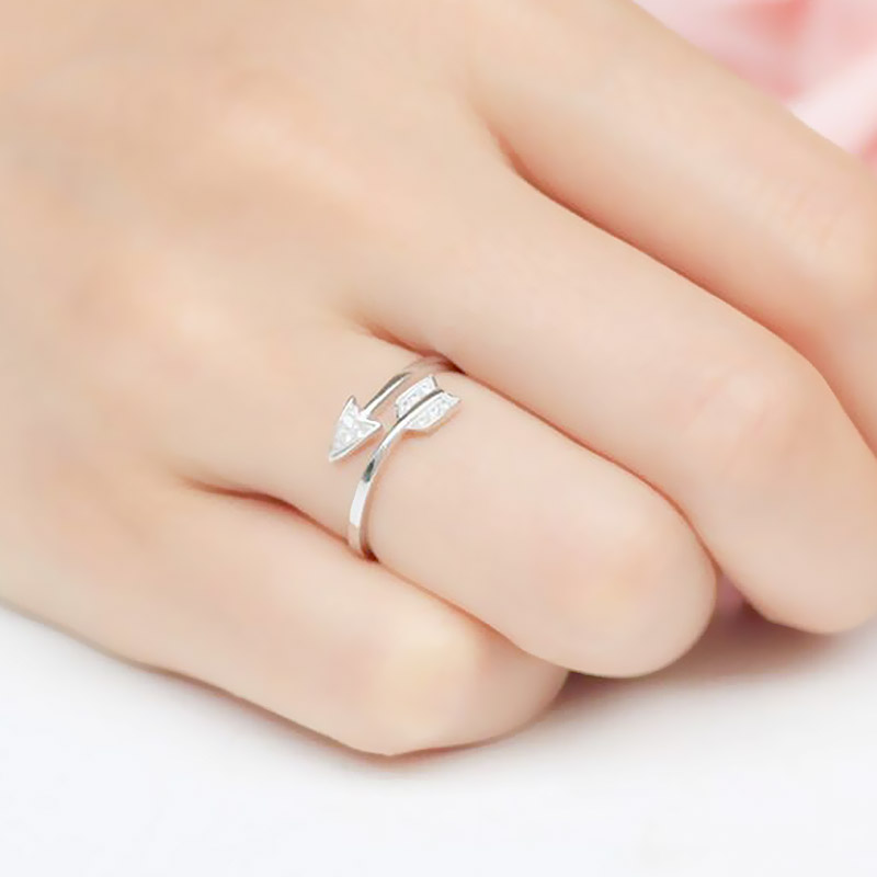 LNRRABC 1PC New Drop Shipping Alloy Arrows Crystal Women Allergy Free Rings Hot Sale Open Sagittarius 3 Colors Adjustable Lovers