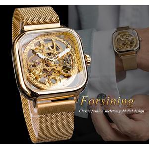 Image 3 - Forsining Goldene Männer Automatische Uhr Platz Skeleton Mesh Stahl Band Mechanische Business Uhr Relogio Masculino Erkek Kol Saati