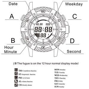 Image 2 - GOLDENHOUR роскошные Цифровые и аналоговые часы, мужские спортивные водонепроницаемые кварцевые наручные часы с двойным дисплеем, модные мужские часы