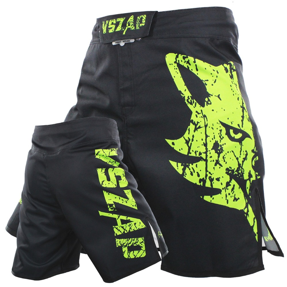 VSZAP Hombres Muay Thai Boxing Shorts Impresión MMA Shorts Fight Grappling Short Polyester Kick Gel Thai Boxing Shorts MMA Boxing