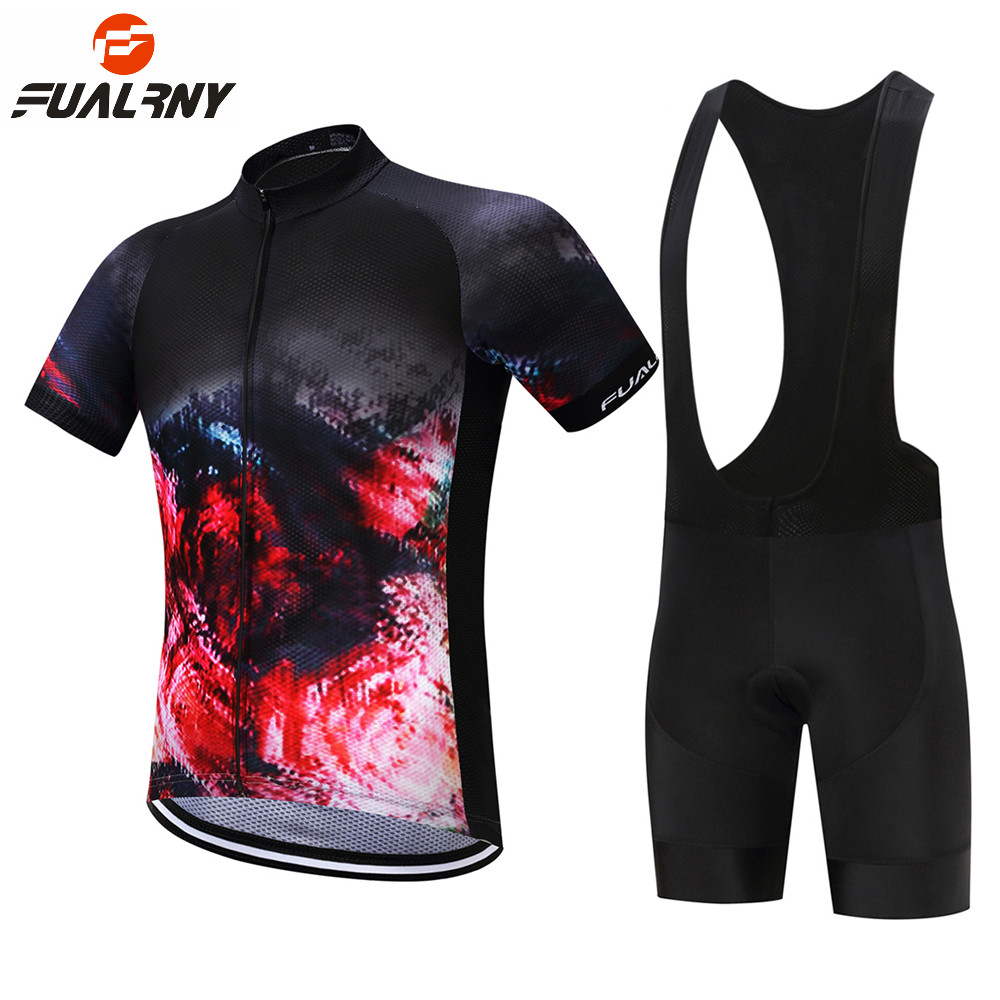 FUALRNY 2018 Summer Cycling Jersey Set Men Short Sleeve Cycling Bike Bicycle Clothing Set Mtb Jersey Bib Shorts with 9D Gel Pad cheji men original camouflage green cycling jersey mtb outdoor breathable bike short sleeve clothing bicycle jersey s 3xl