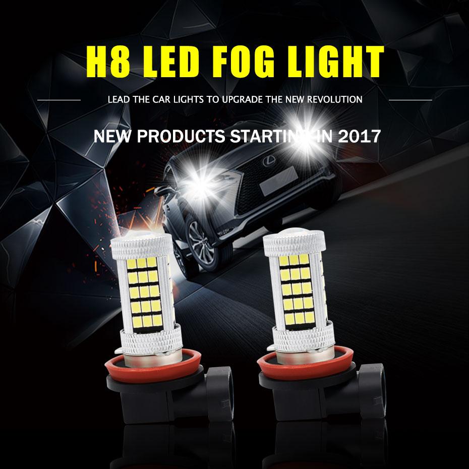 2x Car Fog Lamp H4 H7 H8 H11 9005 9006 HB3 HB4 63 SMD 2835 Led Car Motorcycle Fog Lights Blubs 6000K 8000K White 12V-24V