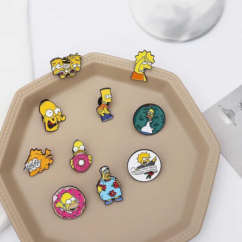 The Simpsons Pins Donut Funny Design เข็มกลัดป้ายอารมณ์ขันการ์ตูนเคลือบกระเป๋าเป้สะพายหลัง Pins สำหรับแฟนๆอะนิเมะของขวัญเครื่องประดับขายส่ง