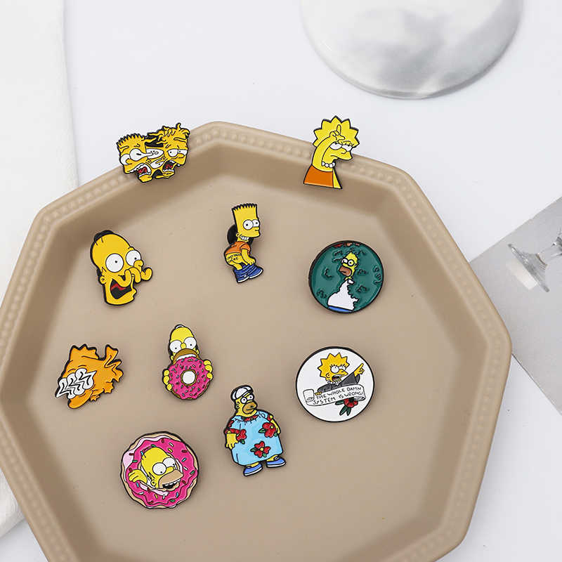 The Simpsons pins Donut Funny design Brooches Badges Humor Cartoon Enamel Backpack pins For Anime fans Gifts Jewelry wholesale