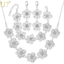 U7 Big Flower Jewelry Set For Women Wedding Accessories Trendy Wedding Jewelry Sets For Brides S689(China)