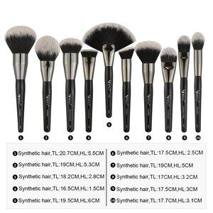 Image 5 - Set de 40 Uds de brochas de maquillaje negras y naturales de BEILI, Set de polvo de base, corrector de cejas, sombra de ojos, brochas de maquillaje profesionales de belleza