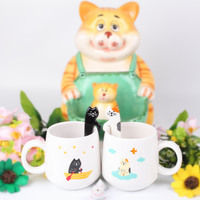 Super cute cartoon cat Mug Pretty kitty pattern Milk Cup Birthday gift mug