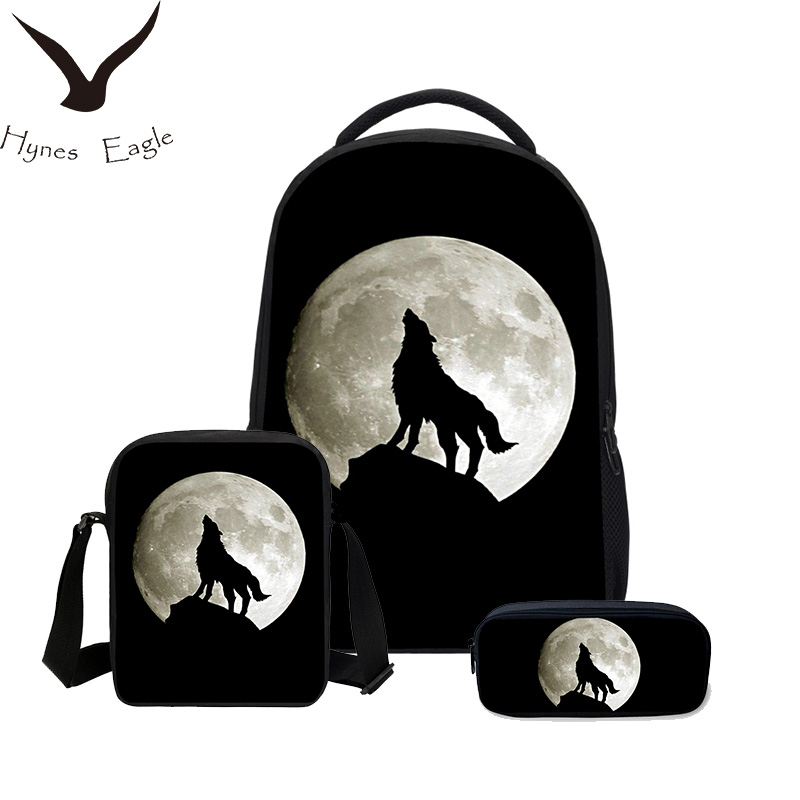 Hynes Eagle 3 PCS/SET Boys School Bag 3D Animal Bookbag Shoulder Bag Cool Wolf Printed Canvas Backpack Fashion Men Backpack hynes eagle 3 pcs set 3d letter bookbag boys backpacks school bags children shoulder bag mochila girls exo printing backpack