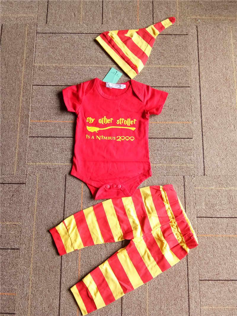 23fdcd022 Conjunto de ropa unids para bebés 3 piezas harri potter recién nacido mono  + Pantalones rayados