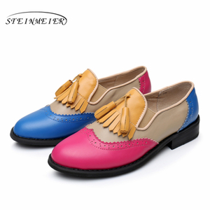 Image 5 - Women oxford Spring shoes genuine leather loafers for woman sneakers female oxfords ladies single shoes strap 2020 summer shoes