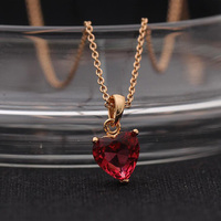 OL Style Cute Charms Heart Necklace AAA Premium Simple Red Zircon Love Pendant Rose Gold C