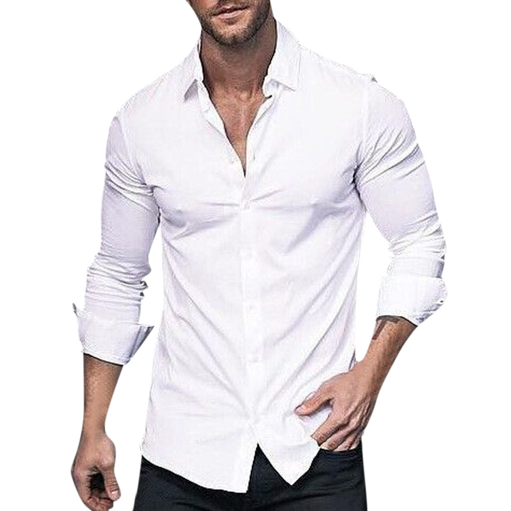 Sleeper #J5 2019 Fashion Men's Long Sleeve Solid Color Lapel Business Or Casual Shirt Tops рубашка Blouse Daily Free Shipping