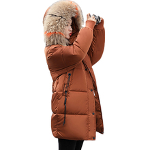 b4a451d759d Women s 2018 Winter New Big Fur Neck Down Cotton Coat Jackets Plus Size  Long Loose Thickening
