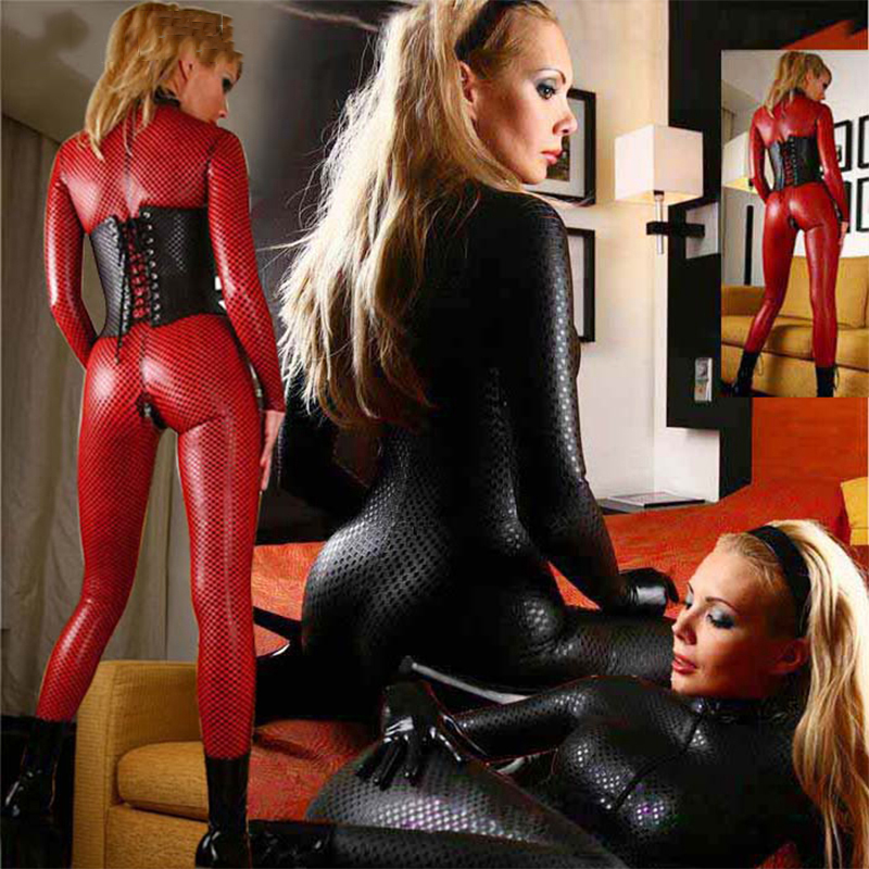 Buy S-5XL Faux Leather Double Way Zipper Sexy Latex Catsuit ClubWear Erotic Jumpsuit Lingerie Bondage Bodysuit Night Club Dance Wear