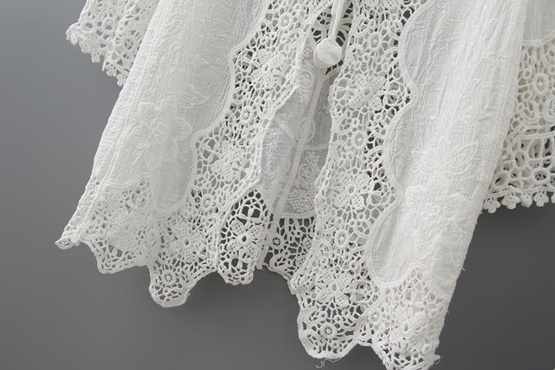 Hollow Out White Lace Blouse Kimono Summer 2019 Cotton Loose Woman Shirt Fashion Half Sleeve Kimono Cardigan Blouses Women 1806 9