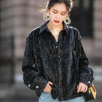 2018 Brand New Spring Cool Sequins Shirts Loose Fashion Korea Stylish Women Tops Long Sleeves Coat