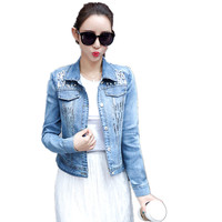 2017 Autumn New Ladies Slim Demin Jacket Long Sleeves Jeans Jacket With Beading Sequins Short Coat Female