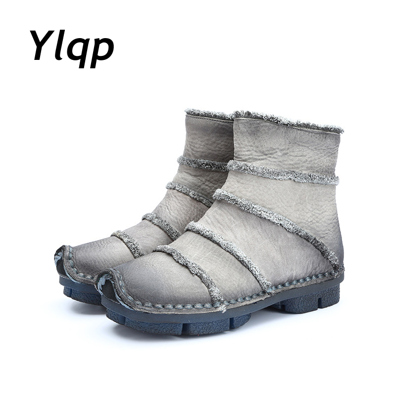 Warm Soft Outdoor Women's Boots Genuine Leather Ankle Boots Round Toe Casual Vintage Flat Shoes for Women Leather Fashion Shoes y s 2016 new mens casual desert boots mans genuine leather flat shoes adults round toe ankle chukka adults quilted boots y 100