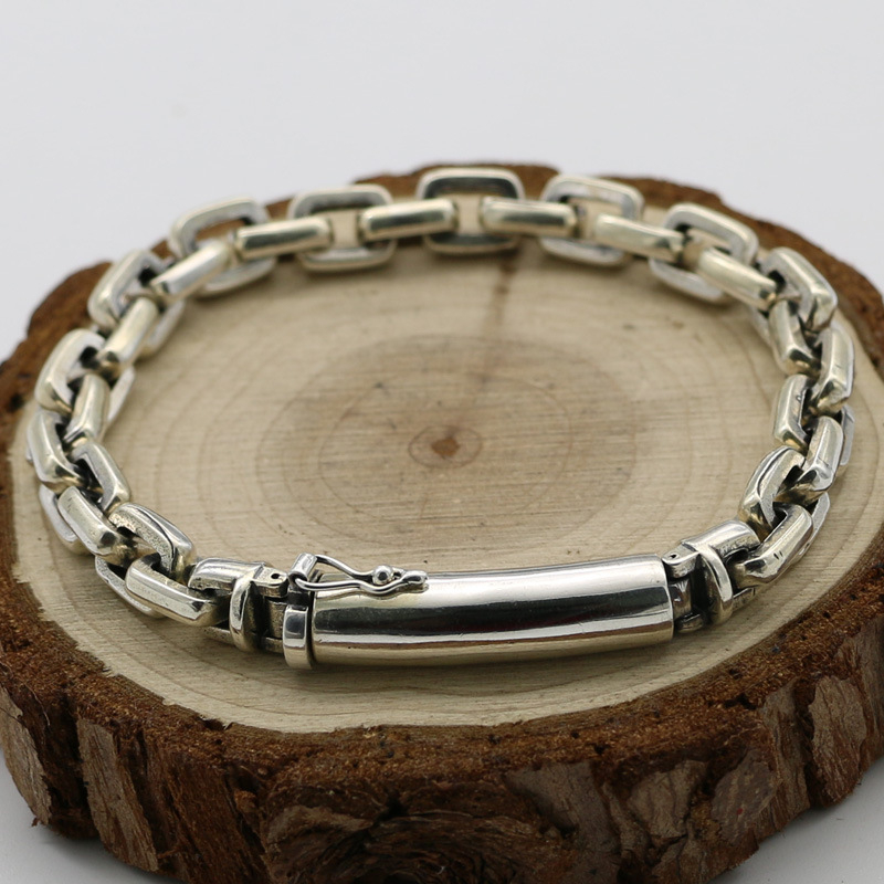Solid 925 Sterling Silver Chunky Chain Bracelet Men Simple Style Real Silver 925 Thick Bracelet Cool Thai Silver Mens JewelrySolid 925 Sterling Silver Chunky Chain Bracelet Men Simple Style Real Silver 925 Thick Bracelet Cool Thai Silver Mens Jewelry