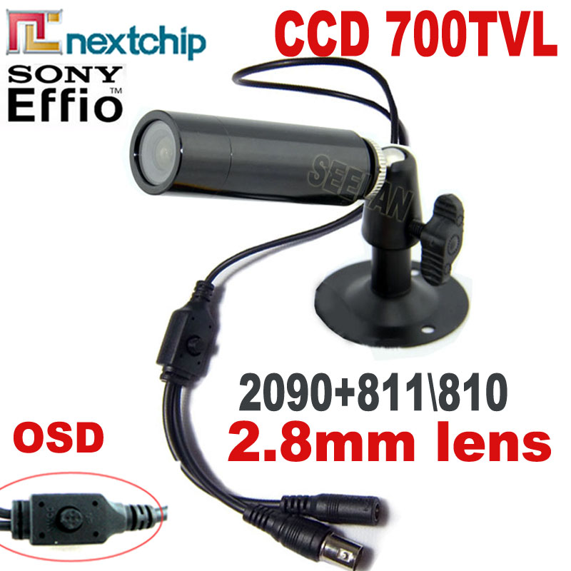 HQCAM 700TVL SONY CCD Nextchip 2090 OSD menu mini Bullet camera mini ccd Outdoor Waterproof 2.8MM CCTV Security Camera for 960H mini bullet cvbs ccd camera 700tvl with headset mount for mobile surveillance security video 5v