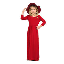 Fashion Brief Solid Girls Dresses Casual Cotton Bohemian Long Sleeve Maxi Dress Korean Style Soft Kids For