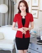 Diseño Uniforme Profesional de Negocios Formal Trajes Falda de Las Mujeres Chaquetas Y Blazers de Trabajo Conjuntos Conjuntos de Manga Corta Falda Femenina