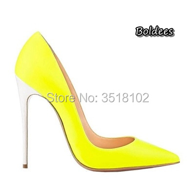 Boldees Women Sexy Fluorescent green Pink Leather Pointed Toe Shoes  Stiletto Heels Slip-on Shallow Dress Pumps Wedding Shoes 04330c0b298f