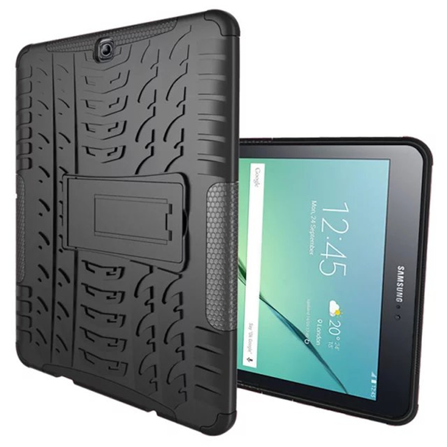 big sale 46782 4e6da US $11.15 7% OFF|For Samsung Galaxy Tab S2 9.7 SM T810 T815 Armor  Shockproof Heavy Duty Silicone Hard Case Cover Protector Stand Tablet  Case-in ...