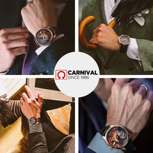 Carnival 3D Chicken Pattern Automatic Watch Men Leather Strap Japan MIYOTA Movement Mechanical Watches Mens Clock erkek saat