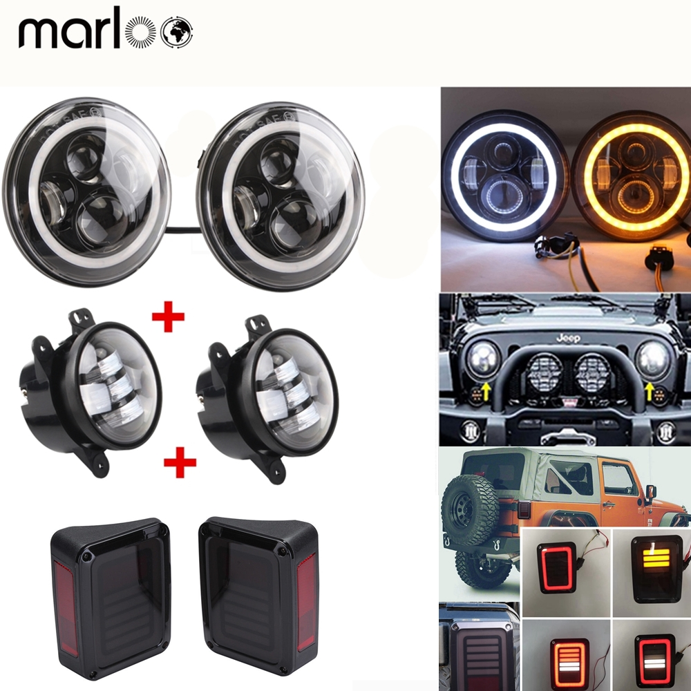 Marloo Wrangler LED 7 Round Headlight H4 High Low Beam W/ 4 inch Fog Lights JK Led Tail Light Taillight For Jeep 2007-2015